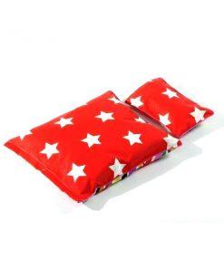 Puppen-Bettwäsche in rot mit Sternen auf www.mina-lola.com
