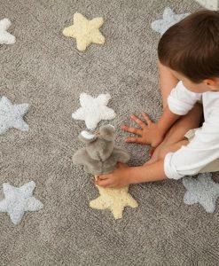 Teppich Sterne tricolor blau auf mina-lola.com von Lorena Canals