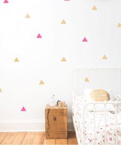 Wandsticker Dreiecke pink&gold auf mina-lola.com von Eulenschnitt