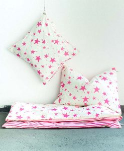 3-teiliges Junior Bettwäsche-Set pinke Sterne auf mina-lola.com von Noe&Zoe