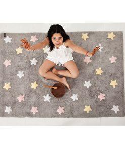 Teppich Sterne tricolor pink auf mina-lola.com von Lorena Canals