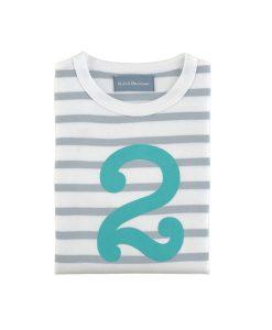 Geburtstagsshirt 2 grau-weiß auf mina-lola.com von Bob&Blossom