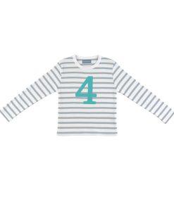 Geburtstagsshirt 4 grau-weiß auf mina-lola.com von Bob&Blossom