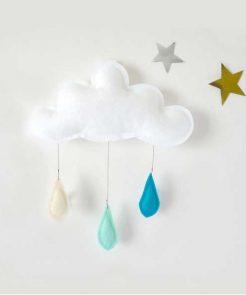 Mobile Wolke mit Regentropfen auf mina-lola.com von Thebutterflying