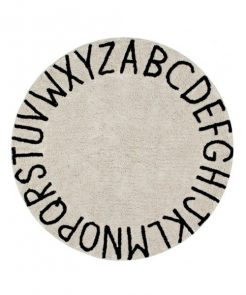 Teppich ABC rund natural-black auf mina-lola.com