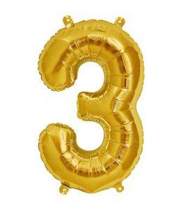 Folienluftballon 3 in gold auf mina-lola.com von Bob&Blossom