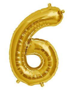 Folienluftballon 6 in gold auf mina-lola.com von Bob&Blossom