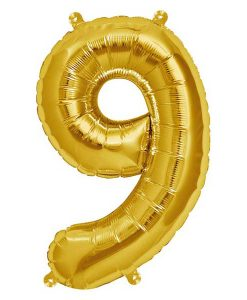 Folienluftballon 9 in gold auf mina-lola.com von Bob&Blossom