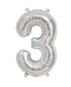 Folienluftballon 3 in silber auf mina-lola.com von Bob&Blossom