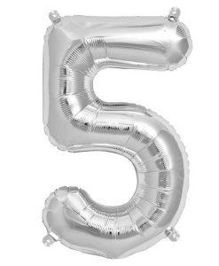 Folienluftballon 5 in silber auf mina-lola.com von Bob&Blossom