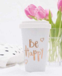 Coffee-To-Go Becher Be Happy auf mina-lola.com von Eulenschnitt