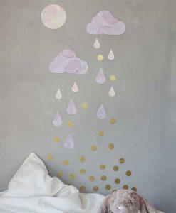 Wandsticker Regenwolken flieder gold auf mina-lola.com von Fabelab