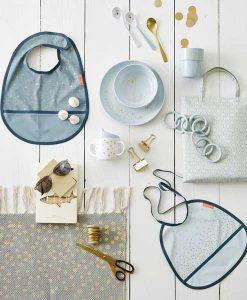 Baumwollteppich mit Fransen grau/gold auf mina-lola.com