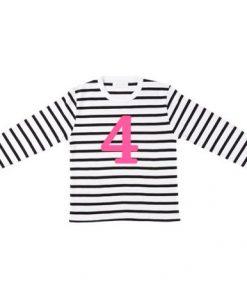 Geburtstagsshirt 4 White & Black Striped