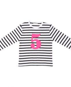 Geburtstagsshirt 5 White & Black Striped auf mina-lola.com von Bob&Blossom