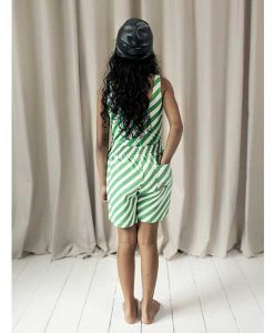 Shorts Vanilla & Grass Green Diagonal Stripes BEAU LOve auf mina-lola.com