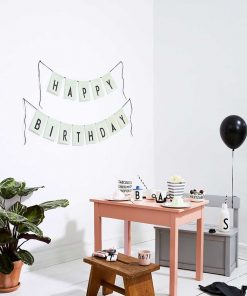 Fahne Happy Birthday Green Design Letters auf mina-lola.com