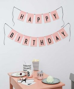 Fahne Happy Birthday Pink Design Letters auf mina-lola.com