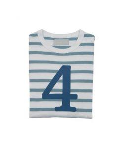 Geburtstagsshirt 4 ocean blau und weiß auf mina-lola.com von Bob and Blossom