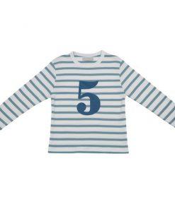 Geburtstagsshirt 4 ocean blau und weiß auf mina-lola.com von Bob Blossom