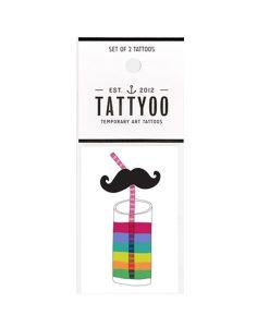 Tattoo Moustache Glas von Tattyoo auf www.mina-lola.com