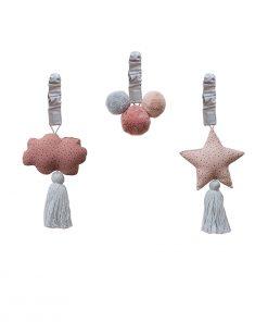 Babyspielzeug Baby Gym Ornaments Blush My Mini Label auf www.mina-lola.com