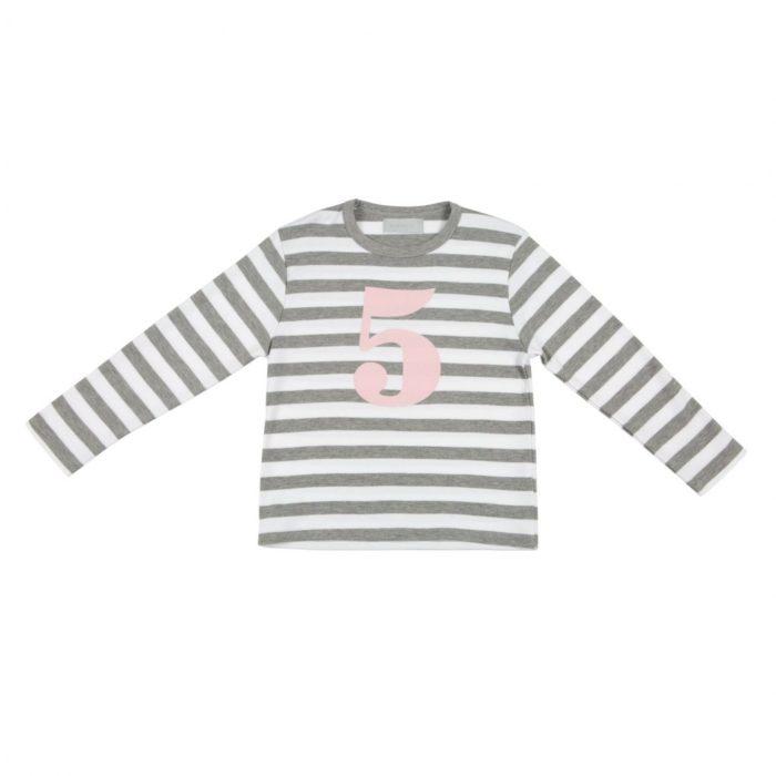 Geburtstagsshirt 5 Grey Marl-Weiss auf www.mina-lola.com von Bob&Blossom