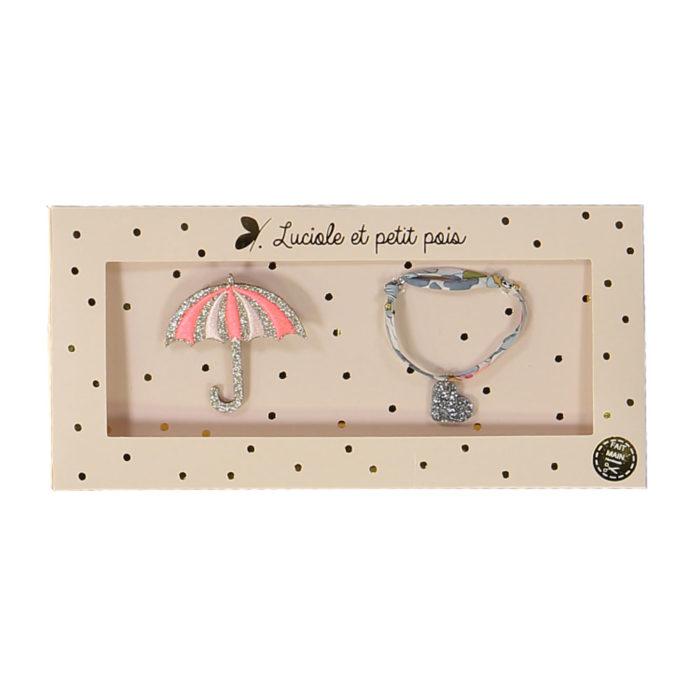 Geschenkset Brosche&Armband Umbrella Luciole et Petit Pois