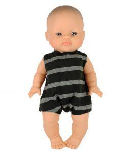 Puppenkleidung Body Grau Schwarz auf www.mina-lola.com von Minikane