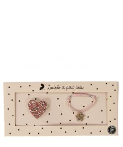Geschenkset Brosche&Armband Pink Heart auf www.mina-lola.com von Luciole et Petit Pois