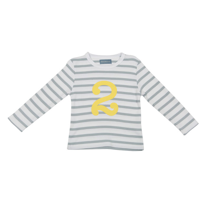 Geburtstagsshirt 2 Grey & White Striped von Bob&Blossom auf www.mina-lola.com