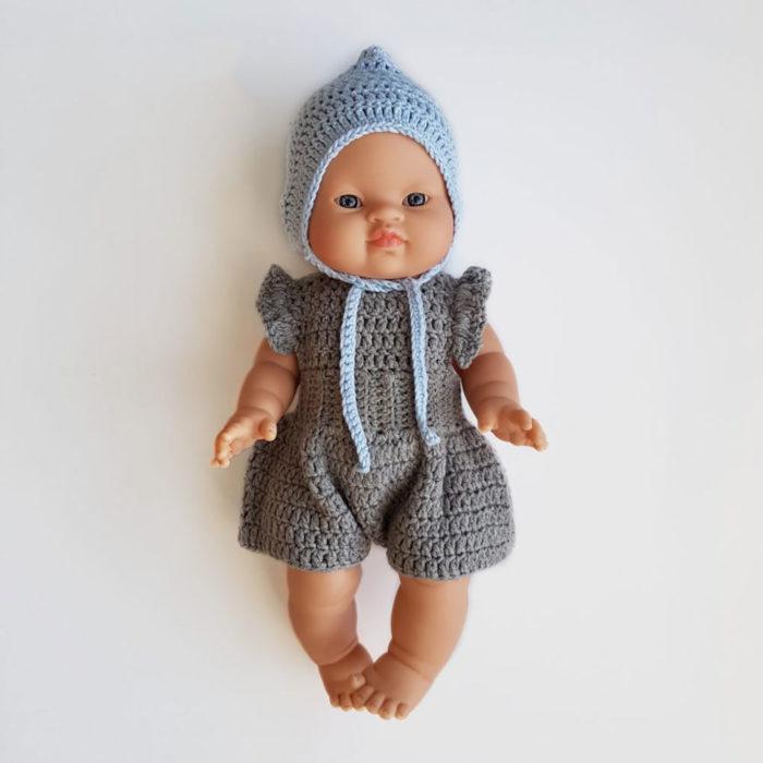 Puppenkleidung Romper Grau auf www.mina-lola.com von Dolls and pups