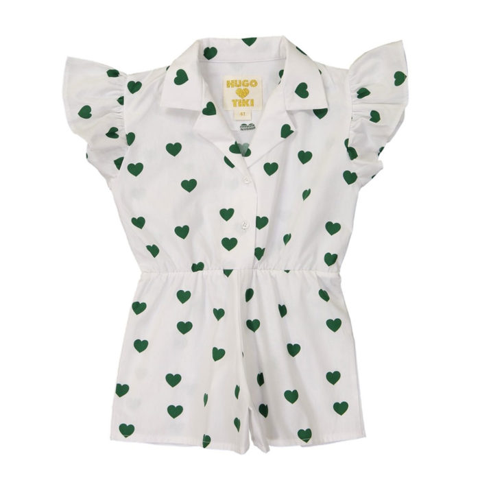 Ruffled Romper Green Hearts Hugo Loves Tiki auf www.mina-lola.com