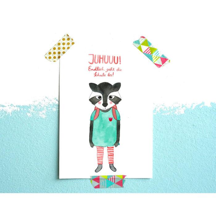 Postkarte Einschulung Waschbärmädchen von Frau Ottilie auf www.mina-lola.com