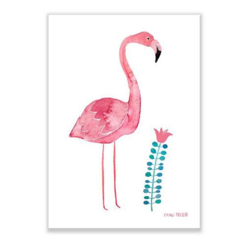 Print A4 Flamingo mit Blume auf www.mina-lola.com von Frau Ottilie