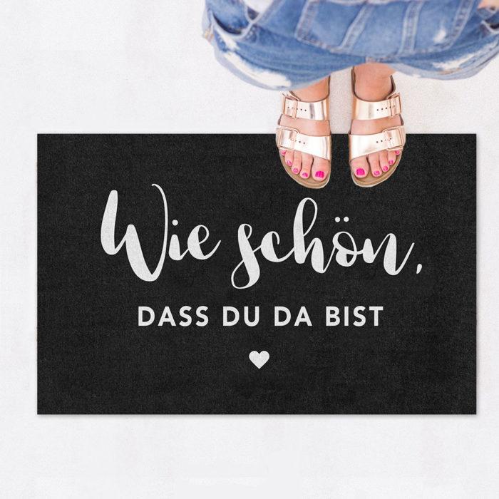 Fußmatte Wie Schön Dass Du Da Bist von Eulenschnitt auf www.mina-lola.com