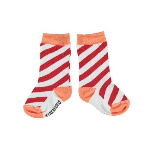Socken mit diagonalen Streifen Red & Coral Piupiuchick auf