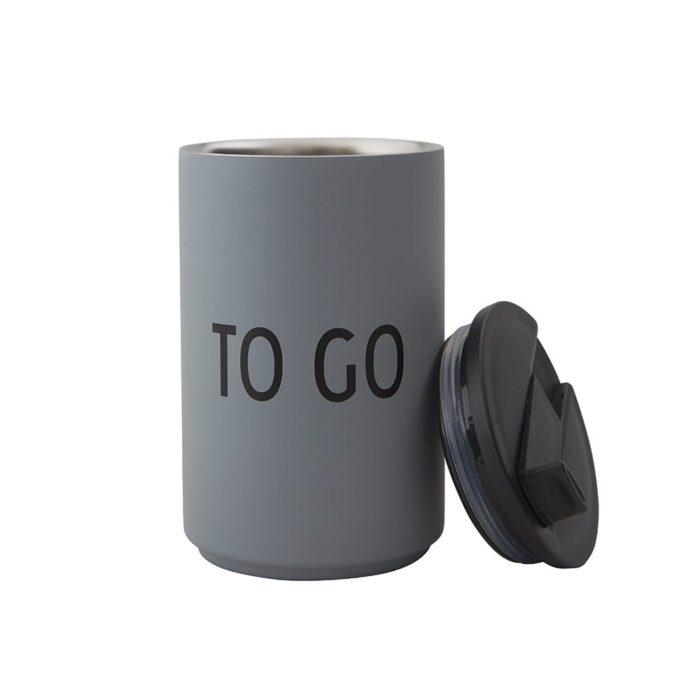 Thermobecher TO GO Grau Design Letters auf www.mina-lola.com