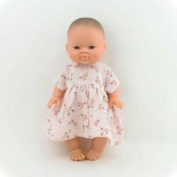Puppenkleid Musselin Zweige Rosa auf www.mina-lola.com