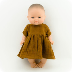 Puppenkleid aus Musselin in Zimt auf www.mina-lola.com